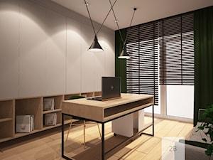 DOMOWE BIURO - Średnie czarne szare biuro pracownia domowe na poddaszu w pokoju, styl eklektyczny - zdjęcie od TO BE DESIGN WERONIKA BUDZICHOWSKA