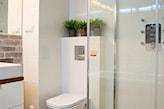 mała nowoczesna łazienka, szara cegła, metalowe doniczki, kabina walk-in