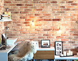 Mieszkanie w starej kamienicy w Gdyni - Konkurs - Małe brązowe biuro kącik do pracy w pokoju, styl industrialny - zdjęcie od Studio LOKO