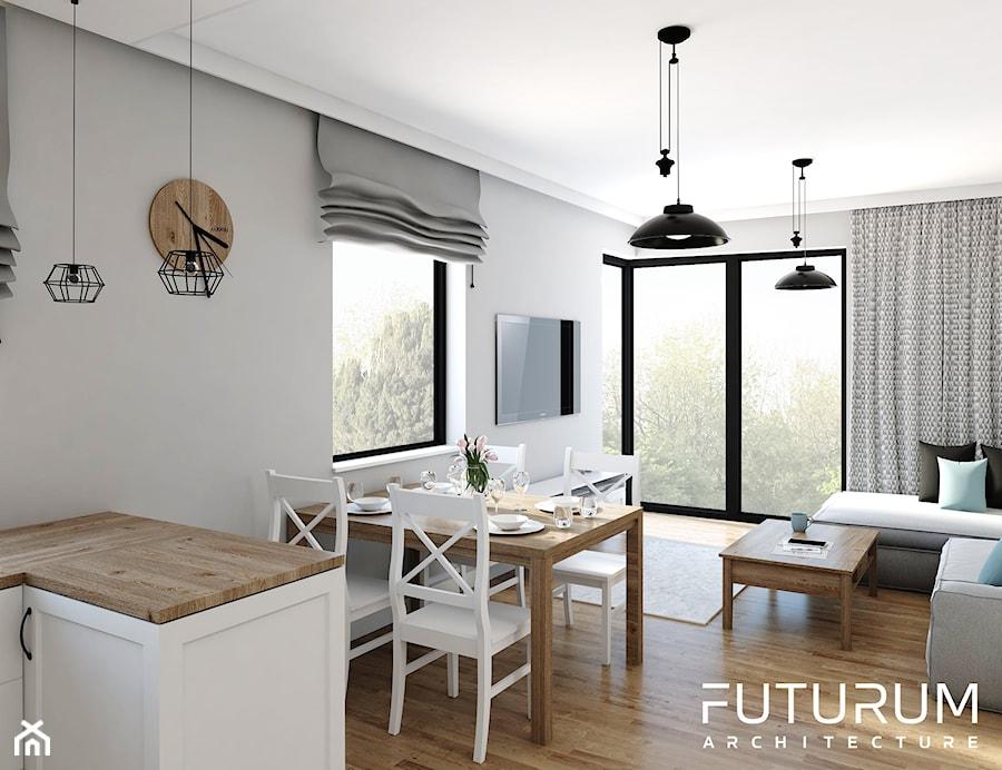 Projekt wnętrza, Bajeczna, Kraków - Mały szary salon z jadalnią, styl klasyczny - zdjęcie od FUTURUM ARCHITECTURE