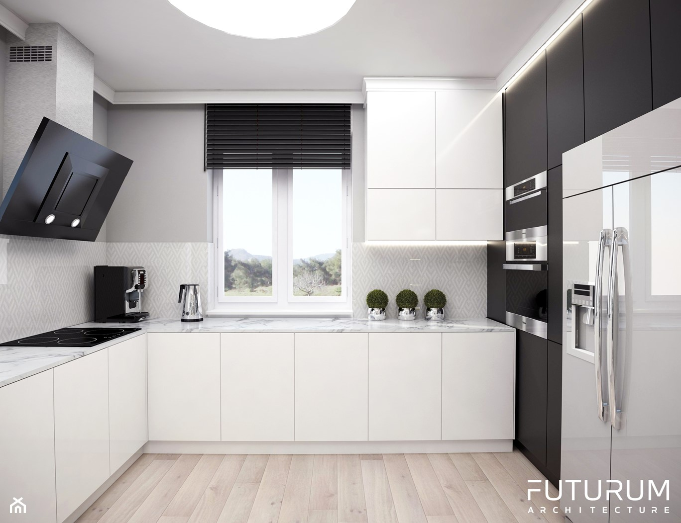 Projekt wnętrza domu jednorodzinnego, Sierakowice - Średnia otwarta szara kuchnia w kształcie litery u z oknem, styl glamour - zdjęcie od FUTURUM ARCHITECTURE - Homebook