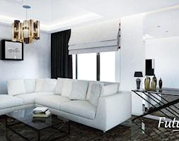 Mały szary biały salon, styl nowoczesny - zdjęcie od FUTURUM ARCHITECTURE