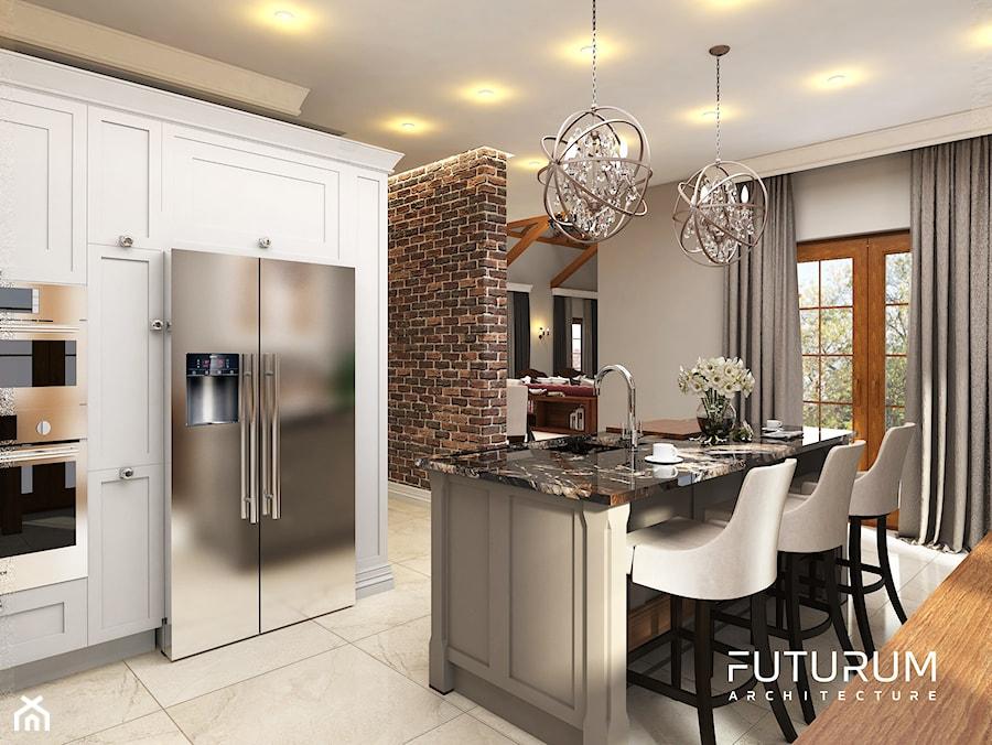 Projekt wnętrza domu pod Warszawą, styl klasyczny - Duża otwarta szara kuchnia w kształcie litery u z wyspą z oknem, styl klasyczny - zdjęcie od FUTURUM ARCHITECTURE