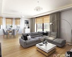 Projekt wnętrza, Łomża - Duży szary biały salon z tarasem / balkonem, styl nowoczesny - zdjęcie od FUTURUM ARCHITECTURE - Homebook