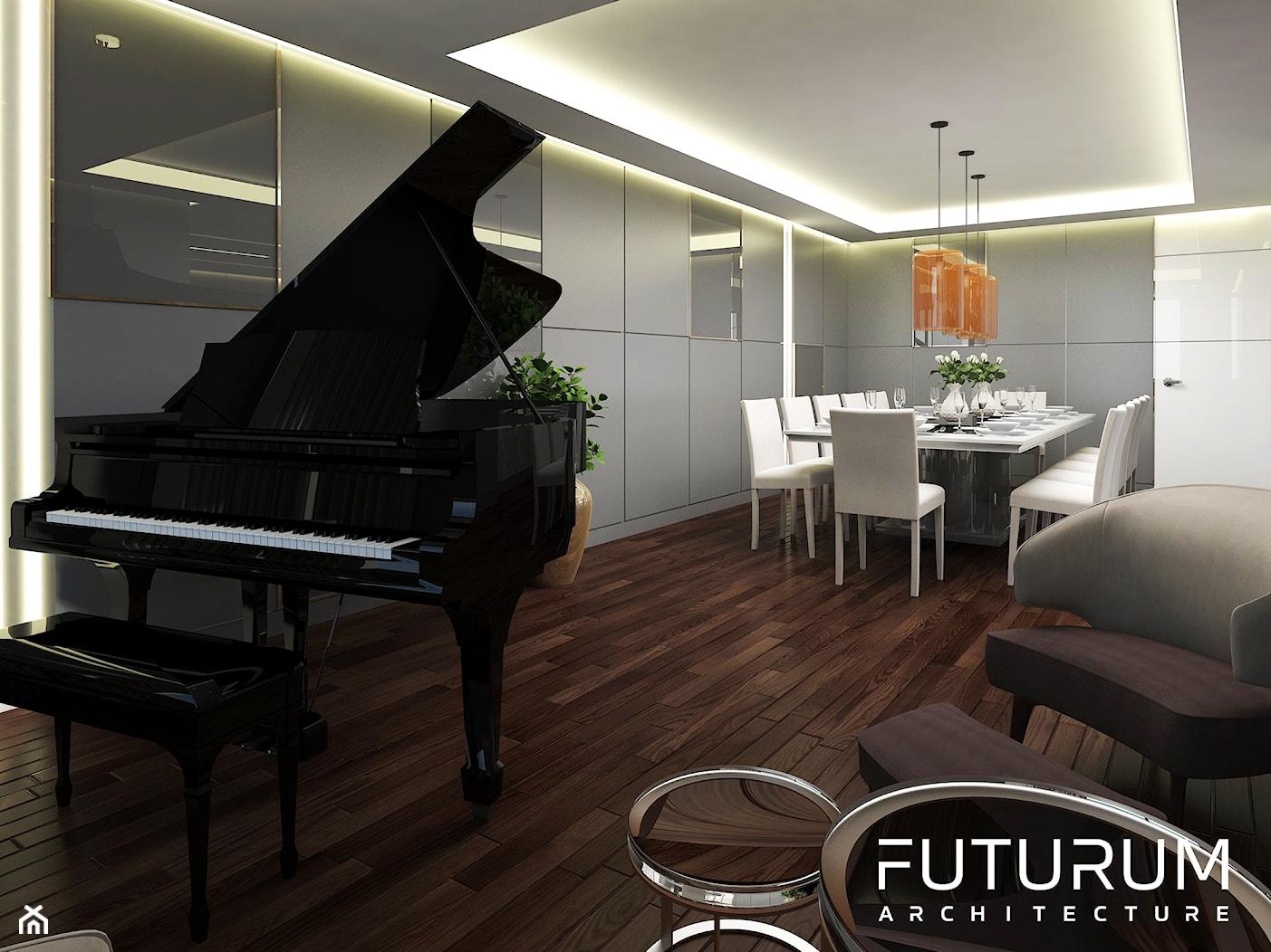 Projekt apartamentu, Beirut, Lebanon - Duża otwarta szara jadalnia w salonie, styl nowoczesny - zdjęcie od FUTURUM ARCHITECTURE - Homebook