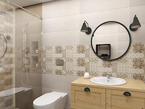 Projekt wnętrza domu pod Warszawą, styl klasyczny - Średnia biała beżowa brązowa łazienka w bloku w domu jednorodzinnym bez okna, styl rustykalny - zdjęcie od FUTURUM ARCHITECTURE