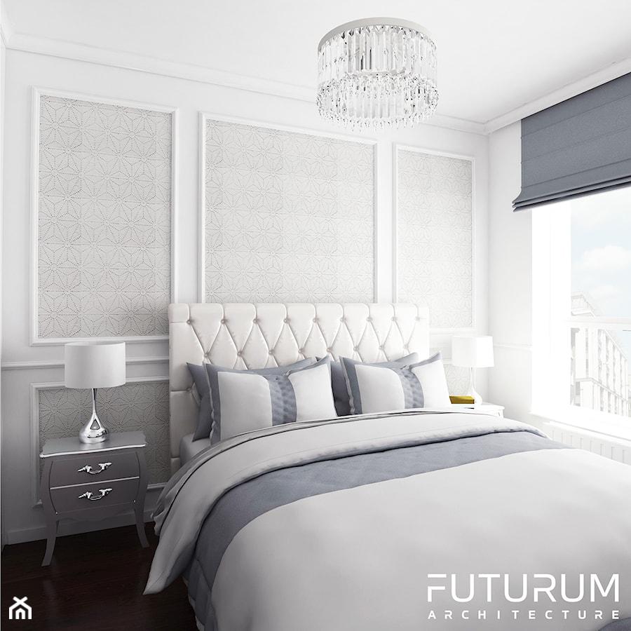 Mieszkanie glamour, Warszawa - Mała biała szara sypialnia ...