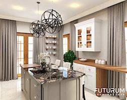 Projekt wnętrza domu pod Warszawą, styl klasyczny - Średnia zamknięta szara kuchnia jednorzędowa z wyspą z oknem, styl rustykalny - zdjęcie od FUTURUM ARCHITECTURE