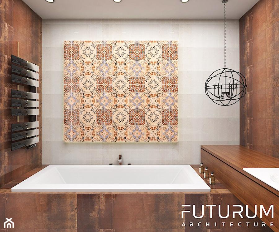 Projekt wnętrza domu pod Warszawą, styl klasyczny - Mała brązowa szara łazienka w bloku w domu jednorodzinnym bez okna, styl rustykalny - zdjęcie od FUTURUM ARCHITECTURE