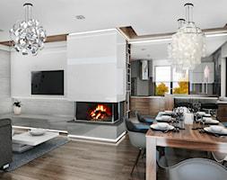 Dom jednorodzinny, Bochnia - Średni biały salon z kuchnią z jadalnią, styl nowoczesny - zdjęcie od FUTURUM ARCHITECTURE