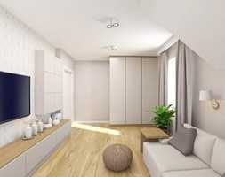 Projekt wnętrza domu w Krakowie - Średnia szara sypialnia dla gości małżeńska na poddaszu, styl nowoczesny - zdjęcie od FUTURUM ARCHITECTURE