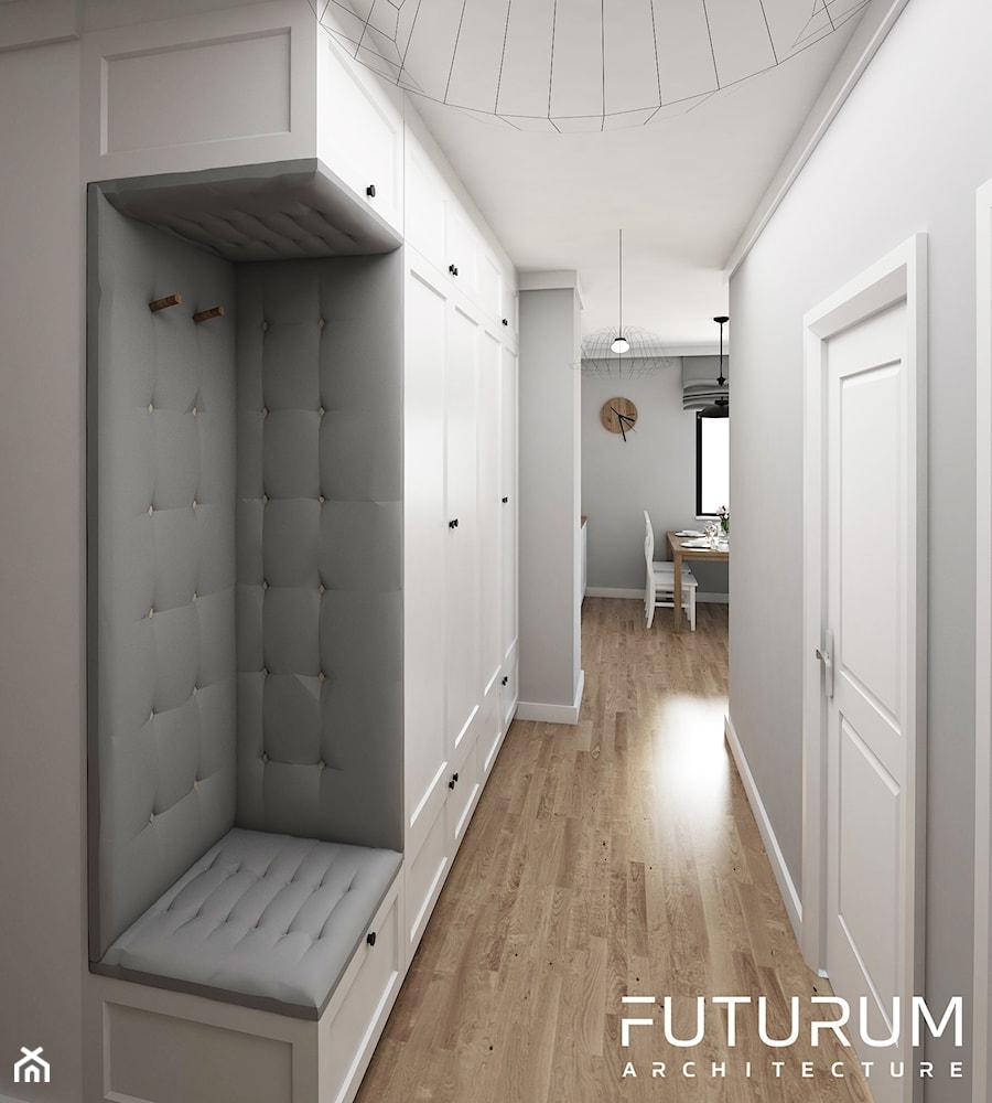 Projekt wnętrza, Bajeczna, Kraków - Średni biały szary hol / przedpokój, styl nowoczesny - zdjęcie od FUTURUM ARCHITECTURE