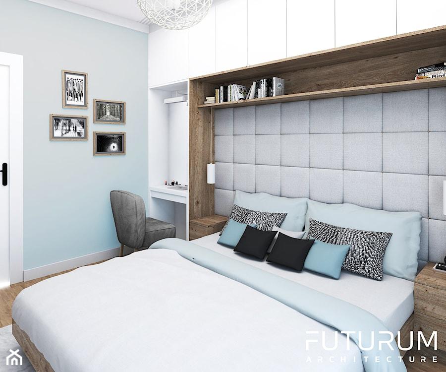 Projekt wnętrza, Bajeczna, Kraków - Średnia niebieska sypialnia małżeńska, styl nowoczesny - zdjęcie od FUTURUM ARCHITECTURE