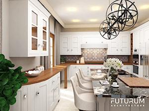 Projekt wnętrza domu pod Warszawą, styl klasyczny - Duża otwarta szara kuchnia w kształcie litery u z wyspą z oknem, styl rustykalny - zdjęcie od FUTURUM ARCHITECTURE