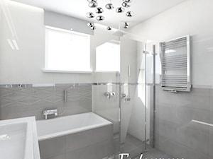 Średnia biała szara łazienka w domu jednorodzinnym z oknem, styl nowoczesny - zdjęcie od FUTURUM ARCHITECTURE