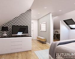 Projekt wnętrza, Łomża - Średnia sypialnia małżeńska na poddaszu z garderobą z łazienką, styl nowoczesny - zdjęcie od FUTURUM ARCHITECTURE