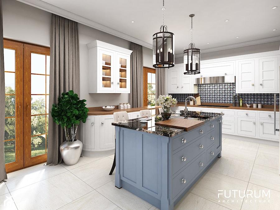 Projekt wnętrza domu pod Warszawą, styl klasyczny - Duża otwarta biała szara czarna kuchnia w kształcie litery l w aneksie z wyspą z oknem, styl klasyczny - zdjęcie od FUTURUM ARCHITECTURE