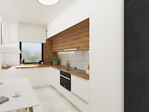 Mieszkanie, ul.Bajeczna - Średnia otwarta biała kuchnia w kształcie litery l w aneksie z oknem, styl nowoczesny - zdjęcie od FUTURUM ARCHITECTURE