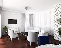 Mieszkanie glamour, Warszawa - Mały biały salon z jadalnią, styl glamour - zdjęcie od FUTURUM ARCHITECTURE