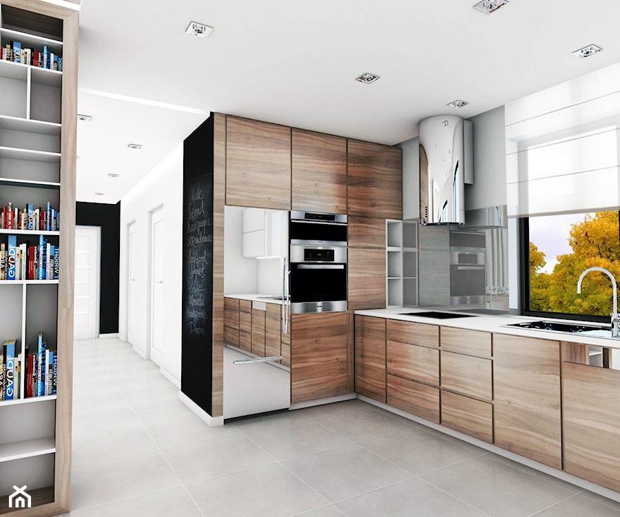 Dom jednorodzinny, Bochnia  Średnia otwarta kuchnia w kształcie litery l w a