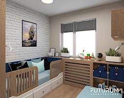 Projekt mieszkania, ul.Orlińskiego - Mały szary pokój dziecka dla chłopca dla dziewczynki dla niemowlaka dla malucha, styl nowoczesny - zdjęcie od FUTURUM ARCHITECTURE