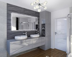 Łazienka w domu jednorodzinnym - Średnia biała szara łazienka, styl minimalistyczny - zdjęcie od FUTURUM ARCHITECTURE