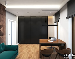 Projekt wnętrza domu jednorodzinnego, Zyrardów - Średnie brązowe białe biuro domowe w pokoju, styl nowoczesny - zdjęcie od FUTURUM ARCHITECTURE