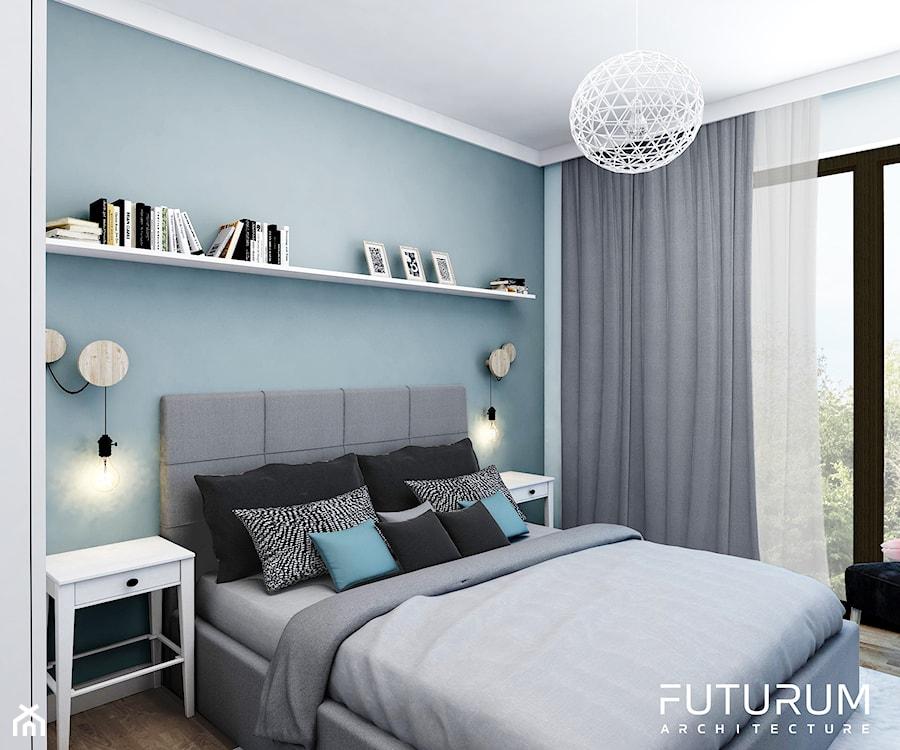 Projekt wnętrza, Bajeczna, Kraków - Średnia biała niebieska sypialnia małżeńska, styl nowoczesny - zdjęcie od FUTURUM ARCHITECTURE