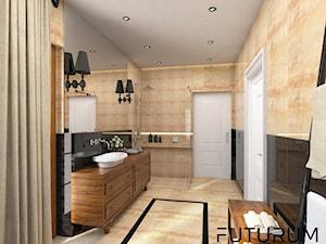 Projekt wnętrza domu pod Warszawą, styl klasyczny - Średnia beżowa czarna łazienka na poddaszu w bloku w domu jednorodzinnym bez okna, styl rustykalny - zdjęcie od FUTURUM ARCHITECTURE