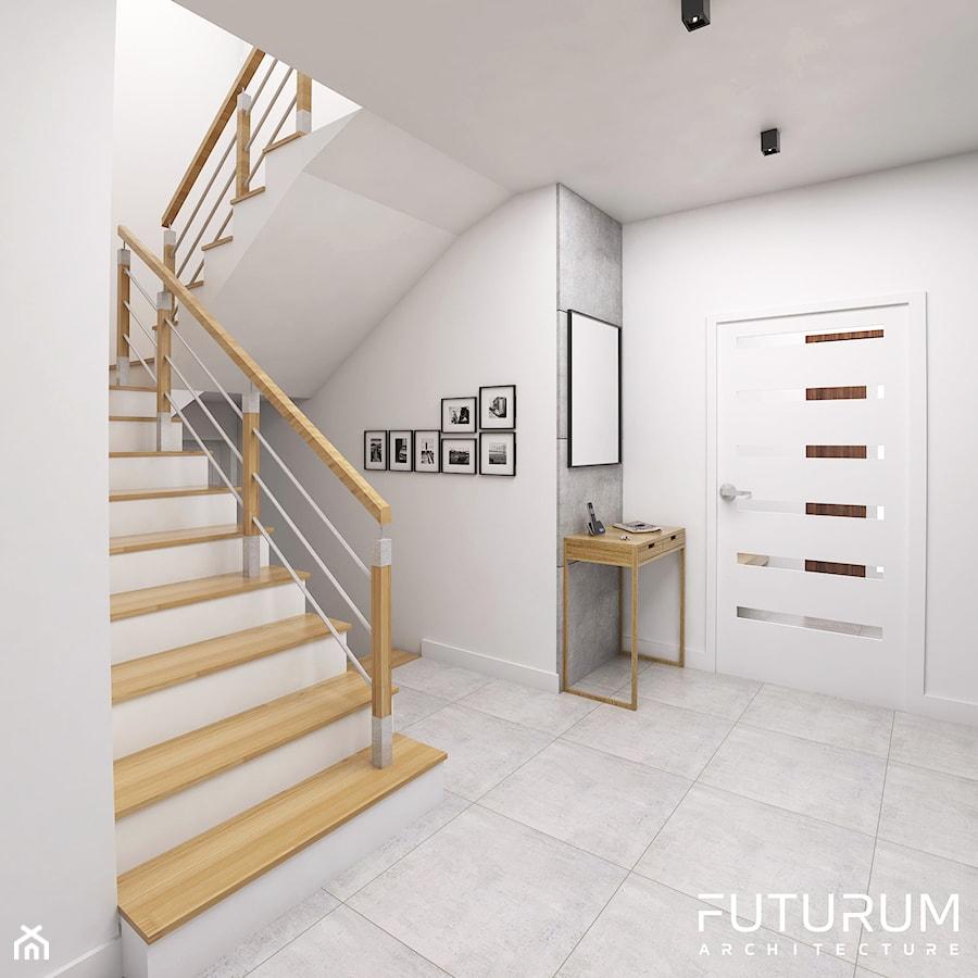 Projekt wnętrza, Łomża - Średni biały hol / przedpokój, styl nowoczesny - zdjęcie od FUTURUM ARCHITECTURE