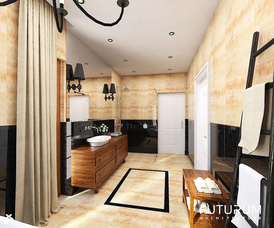 Projekt wnętrza domu pod Warszawą, styl klasyczny - Średnia łazienka w bloku w domu jednorodzinnym bez okna, styl glamour - zdjęcie od FUTURUM ARCHITECTURE