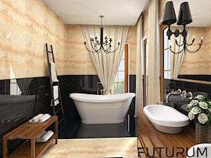 Projekt wnętrza domu pod Warszawą, styl klasyczny - Średnia łazienka w bloku w domu jednorodzinnym z oknem, styl rustykalny - zdjęcie od FUTURUM ARCHITECTURE