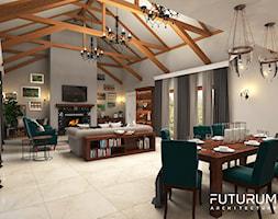 Projekt wnętrza domu pod Warszawą, styl klasyczny - Duży szary salon z jadalnią, styl rustykalny - zdjęcie od FUTURUM ARCHITECTURE
