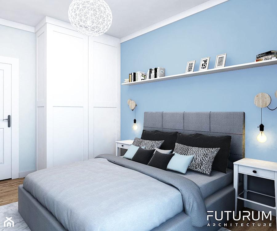 Projekt wnętrza, Bajeczna, Kraków - Mała szara niebieska sypialnia małżeńska, styl nowoczesny - zdjęcie od FUTURUM ARCHITECTURE