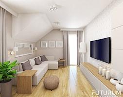Projekt wnętrza domu w Krakowie - Średnia szara sypialnia dla gości na poddaszu, styl nowoczesny - zdjęcie od FUTURUM ARCHITECTURE