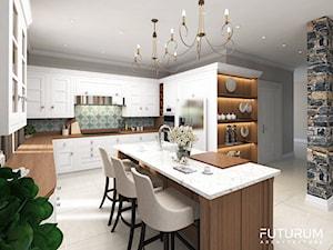 Projekt wnętrza domu pod Warszawą, styl klasyczny - Duża otwarta brązowa kolorowa kuchnia w kształcie litery l z wyspą, styl rustykalny - zdjęcie od FUTURUM ARCHITECTURE