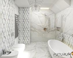 Projekt wnętrza domu w Krakowie - Średnia biała łazienka na poddaszu w bloku w domu jednorodzinnym bez okna, styl glamour - zdjęcie od FUTURUM ARCHITECTURE