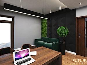 Projekt wnętrza domu jednorodzinnego, Zyrardów - Średnie czarne szare biuro pracownia domowe w pokoju, styl nowoczesny - zdjęcie od FUTURUM ARCHITECTURE