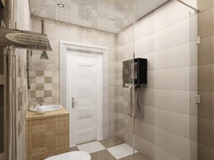 Projekt wnętrza domu pod Warszawą, styl klasyczny - Mała szara łazienka w bloku w domu jednorodzinnym bez okna, styl rustykalny - zdjęcie od FUTURUM ARCHITECTURE
