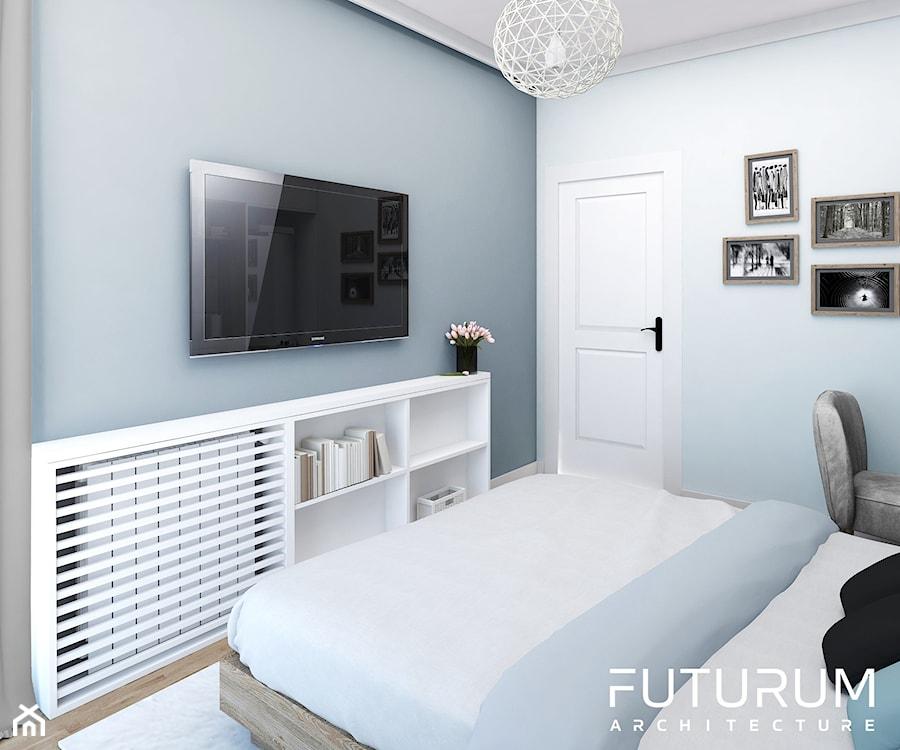 Projekt wnętrza, Bajeczna, Kraków - Mała biała szara sypialnia małżeńska, styl nowoczesny - zdjęcie od FUTURUM ARCHITECTURE