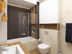 Projekt mieszkania, ul.Orlińskiego - Mała beżowa czarna łazienka w bloku w domu jednorodzinnym bez okna, styl nowoczesny - zdjęcie od FUTURUM ARCHITECTURE