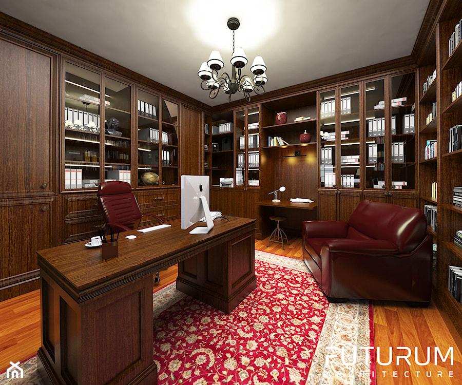 Projekt wnętrza domu pod Warszawą, styl klasyczny - Średnie biuro pracownia, styl klasyczny - zdjęcie od FUTURUM ARCHITECTURE