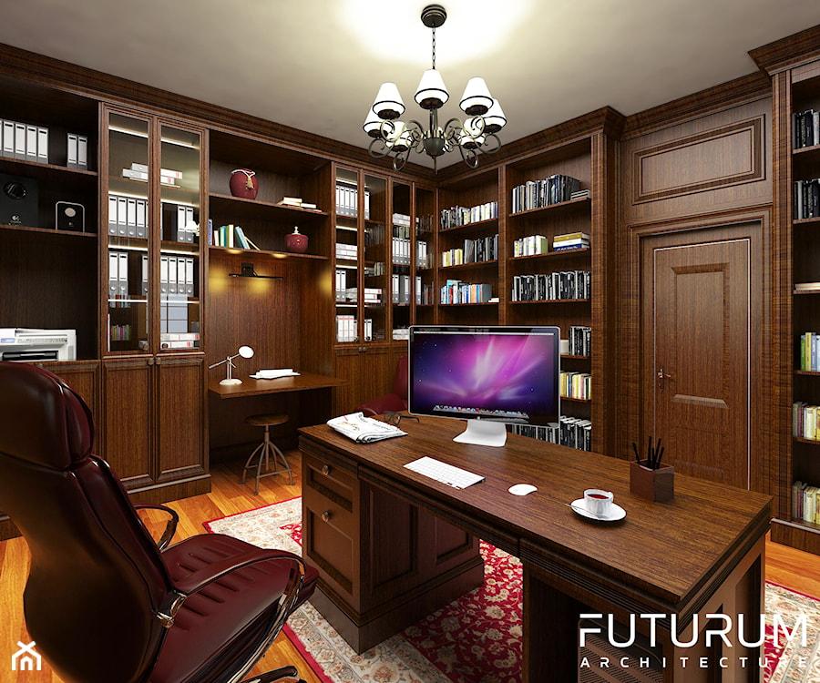 Aranżacje wnętrz - Biuro: Projekt wnętrza domu pod Warszawą, styl klasyczny - Średnie biuro pracownia domowe na poddaszu w pokoju, styl klasyczny - FUTURUM ARCHITECTURE. Przeglądaj, dodawaj i zapisuj najlepsze zdjęcia, pomysły i inspiracje designerskie. W bazie mamy już prawie milion fotografii!