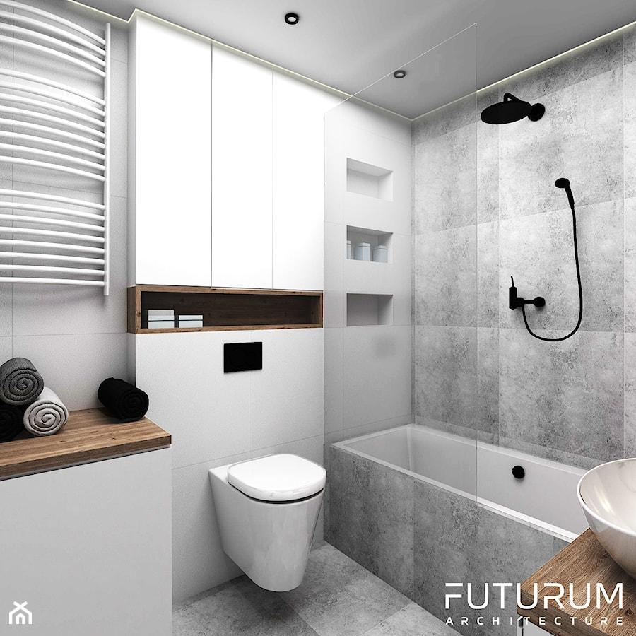 Projekt wnętrza, Bajeczna, Kraków - Mała średnia łazienka w bloku bez okna, styl nowoczesny - zdjęcie od FUTURUM ARCHITECTURE
