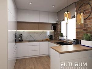 Projekt mieszkania, ul.Orlińskiego - Średnia kuchnia w kształcie litery g z oknem, styl nowoczesny - zdjęcie od FUTURUM ARCHITECTURE