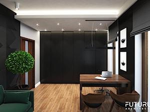 Projekt wnętrza domu jednorodzinnego, Zyrardów - Średnie czarne białe biuro domowe w pokoju, styl nowoczesny - zdjęcie od FUTURUM ARCHITECTURE