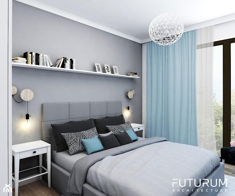Projekt wnętrza, Bajeczna, Kraków - Średnia biała szara sypialnia małżeńska, styl nowoczesny - zdjęcie od FUTURUM ARCHITECTURE