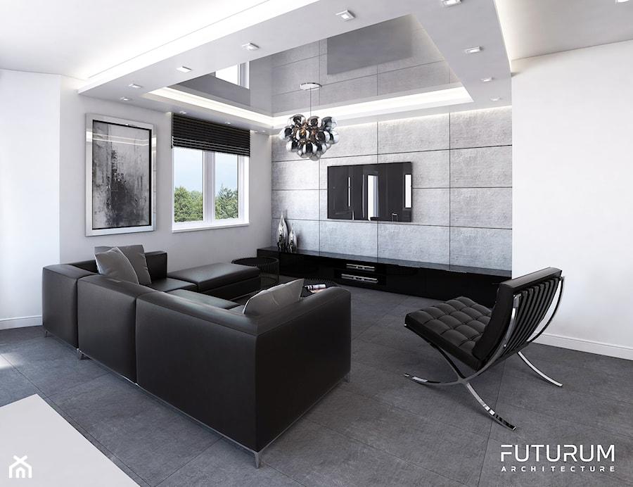 Mieszkanie, Kraków, Kliny - Duży szary biały salon, styl nowoczesny - zdjęcie od FUTURUM ARCHITECTURE