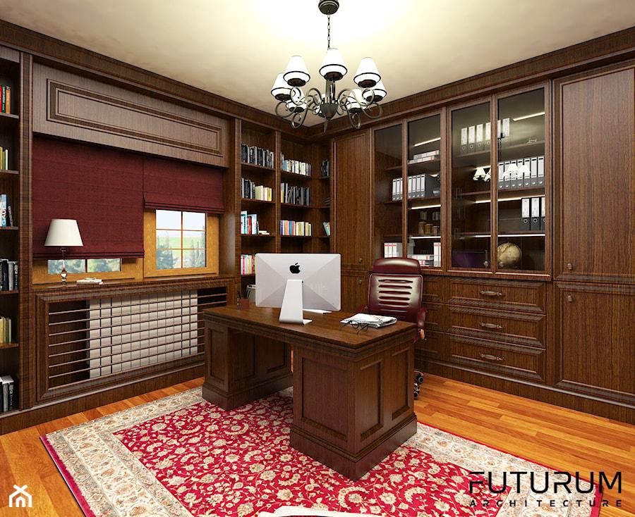 Projekt wnętrza domu pod Warszawą, styl klasyczny - Biuro domowe w pokoju, styl klasyczny - zdjęcie od FUTURUM ARCHITECTURE