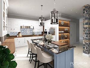 Projekt wnętrza domu pod Warszawą, styl klasyczny - Duża otwarta szara kuchnia w kształcie litery l z wyspą z oknem, styl rustykalny - zdjęcie od FUTURUM ARCHITECTURE